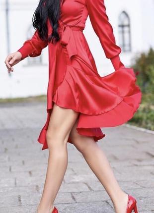 Красное платье армани шелк