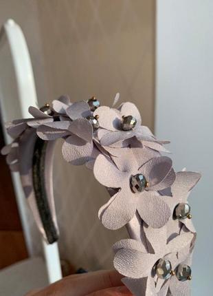 Роскошный милый обруч ободок повязка цветы серый серебристый stradivarius