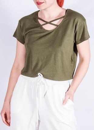 Женская оливковая футболка, стильная женская футболка
