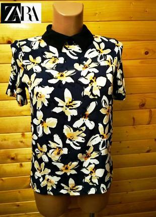61. практичная  вискозная блузка в цветочный принт  испанского бренда zara, пр-во морокко.
