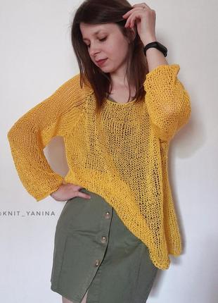 Летний жёлтый свитерок паутинка