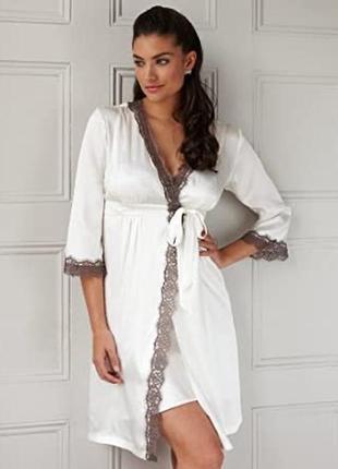 Роскошный шелковый халат с французским кружевом, натуральный шёлк, шелк la senza