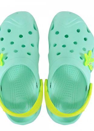 Подростковые кроксы 117084. мятные с желтым.