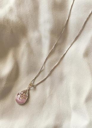 Серебряная цепочка с подвеской с камнем