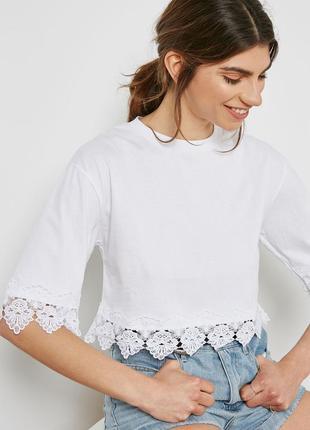 Белая футболка оверсайз с кружевом topshop