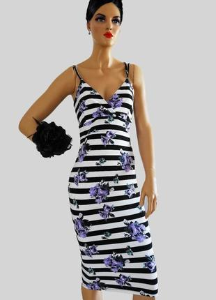 Шикарное платье в полоску в стиле d&g цветы, черно белое lipsy