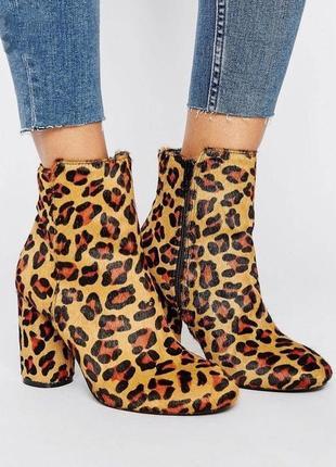 Фирменные стильные качественные натуральные ботинки из леопарда