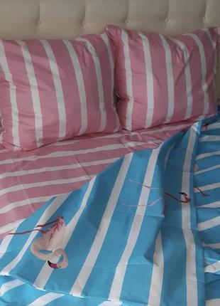 Двухспальный евро комплект постельного белья из бязи голд фламинго