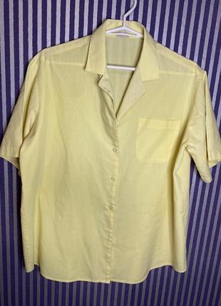 Желтая рубашка с коротким рукавом оверсайз