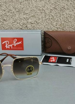 Ray ban очки унисекс солнцезащитные коричневые с градиентом прямоугольные линзы стекло