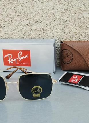 Ray ban очки унисекс солнцезащитные черные в золоте линзы стекло