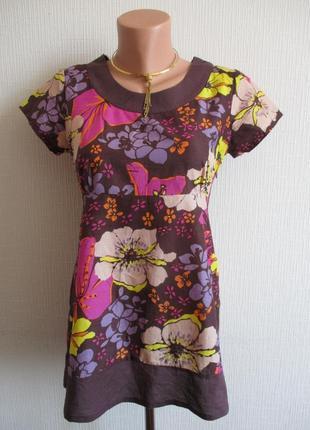 Sale -50%! хлопковая блуза в цветочный принт украшенная пайетками papaya