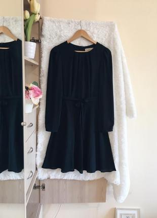 Черное шифон платье с рукавами под пояс