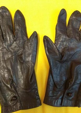 Черные кожаные перчатки xs - s