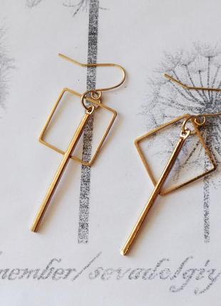 Распродажа! золотистые лаконичные геометрические серьги висюльки палочка квадрат