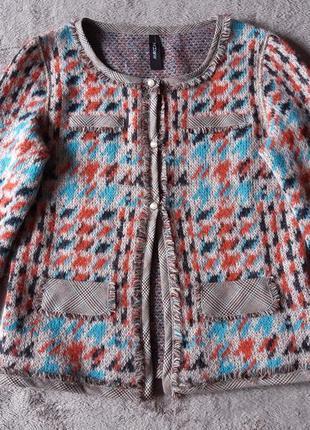 Женский легкий твидовый жакет шерстяной кардиган жакет marc cain в стиле chanel