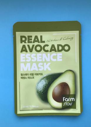 Тканевая маска с экстрактом авокадо farmstay avocado real essence mask, 23мл
