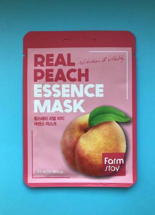 Тканевая маска с экстрактом персика farmstay peach real essence mask, 23мл