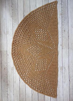 Вязананый коврик, коврик из джута
