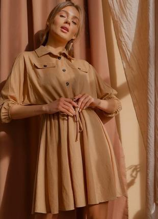 Платье  клешь, рукава широкого кроя 🏵️ лён