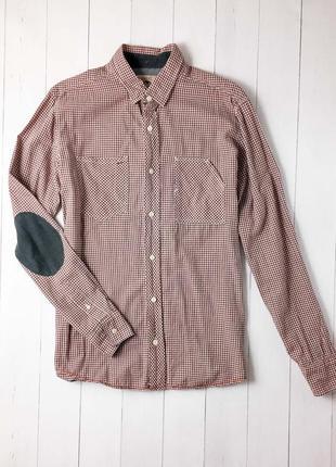 Мужская стильная клетчатая рубашка с накладками на локтях от известного бренда next.