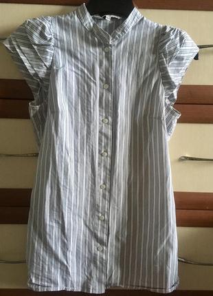 📃летняя блузка рубашка в полоску с оригинальным рукавчиком офисная 10рр
