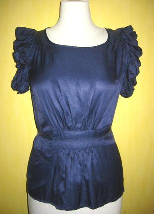 Дизайнерская синяя блуза из шелка и хлопка baum und pferdgarten, р. 38