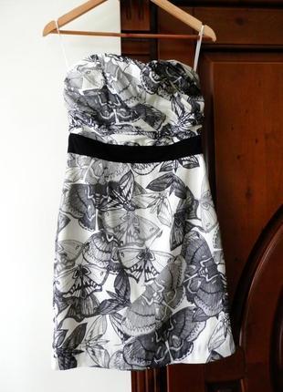 Фантастичне стильне платье бюстье плаття h&m з метеликами h&m