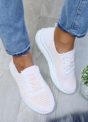 Светлые кроссовки мокасины  летние белые бело розовые пудровые