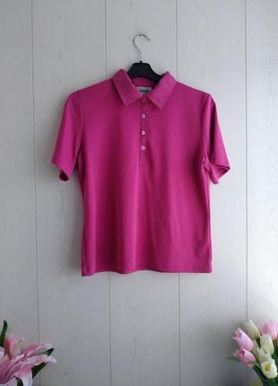 Стильная брендовая футболка поло/красивое поло малинового цвета/малиновая футболка
