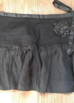 Нарядная шелковая пышная мини юбка zara