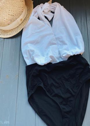 Черно-белый совместный купальник new look 38 размер + бесплатная доставка