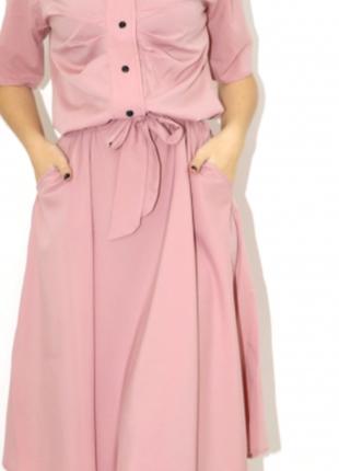 Пудрового цвета шикарное платье под поясок- xs s m