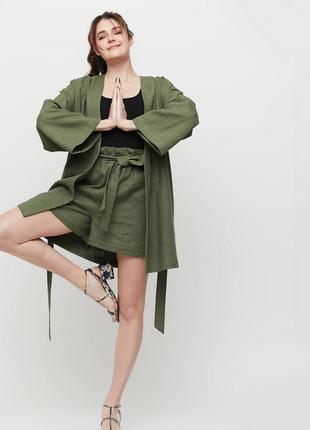 Костюм кимоно и шорты хаки эксклюзивный удобный льняной