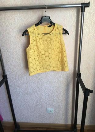 1 1=3! блуза безрукавка с выбитым кружевом хлопок!