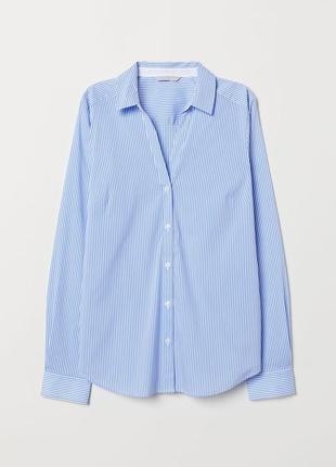 Базовая рубашка в полоску голубая белая