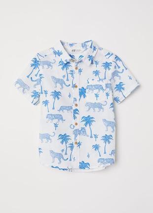 Рубашка летняя h&m англия 98 - 134 см 3 - 9 лет с тиграми пальмами динозаврами