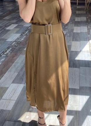 Коричневое платье армани шелк
