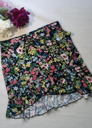 Трендовая летняя юбка h&m цветочный принт
