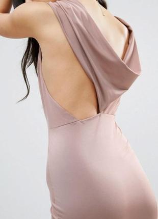 Sale шикарное вечернее нюдовое длинное платье с вырезом по спинке asos