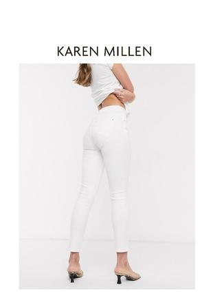 Karen millen фирменный белые джинсовые летние штаны брюки с молнией