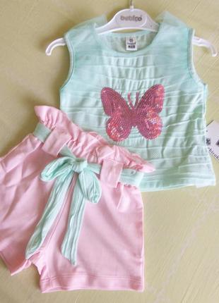 Костюм, набор, футболка, шорти для дівчинки
