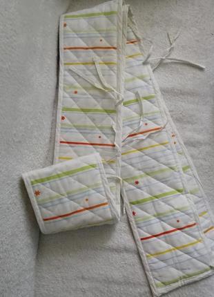 Светлые длинные бортики в детскую кроватку, унисекс