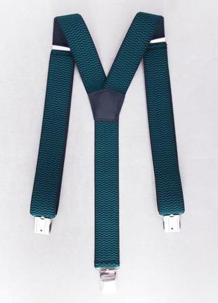 Мужские зеленые подтяжки широкие (польша)
