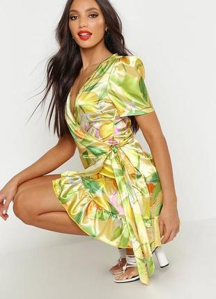 Атласное яркое платье в лимоны boohoo xs-s-m