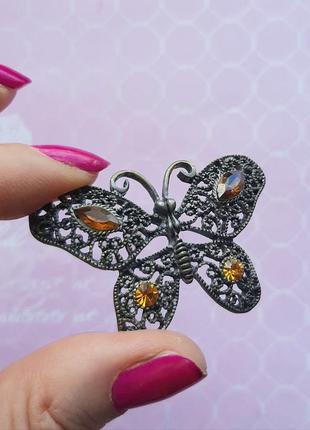 Брошь бабочка италия винтажая брошка бижутерия бронз сер филигран кулон подвес