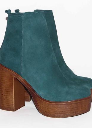 Демисезонные замшевые ботинки, зеленого цвета, 36,37,38,40р