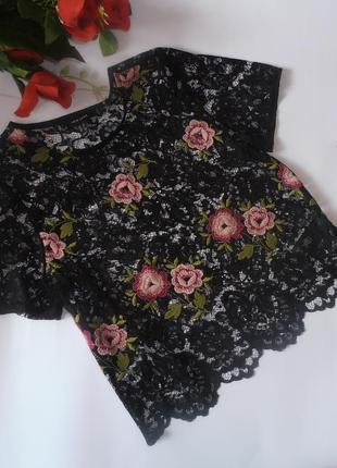 Кружевной черный прозрачный топ с вышивкой new look