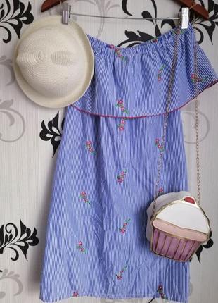 🌿летнее хлопковое платье прямого пошива с рюшей и вышивкой