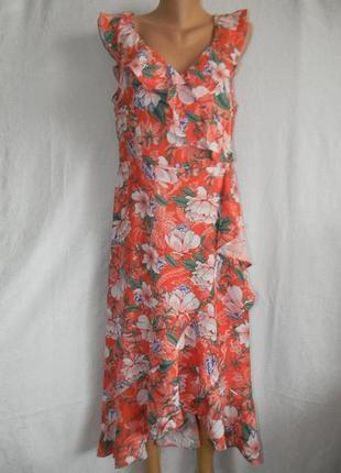 Натуральное стильное легкое платье с воланами